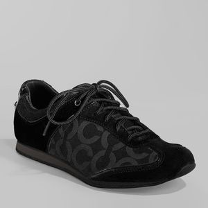 Coach Kelbie Sneaker Cs Logo Black Suede Patent 9
